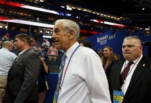 Trent Nelson  |  The Salt Lake Tribune Ron Paul walks the floor on the first day of the Republican National Convention in Tampa, Florida, Tuesday, August 28, 2012.