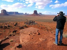 Producer Jerry Bruckheimer looks out over his crew in Monument Valley, during filming of