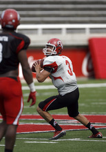 Francisco Kjolseth  |  The Salt Lake Tribune Utah quarterback Jordan Wynn sat out practice with a sore shoulder Friday for the second straight day with a sore shoulder, and he will not play in Saturday's scrimmage.