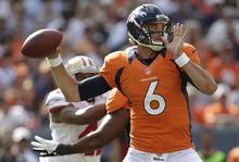 Denver Broncos quarterback Brock Osweiler (6) passes against the San Francisco 49ers during the second half of an NFL preseason football game in Denver, Sunday, Aug. 26, 2012. (AP Photo/Joe Mahoney)