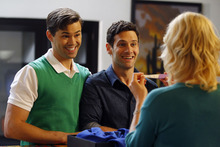 Andrew Rannells as Bryan, left, Justin Bartha as David and Georgia King as Goldie are pictured in a scene from