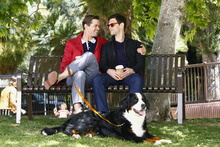 Andrew Rannells as Bryan, left, and Justin Bartha as David in a scene from