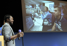 Will.I.Am, with Black Eyed Peas, speaks at Nasa's  Jet Propulsion Laboratory Tuesday Aug. 28, 2012, in Pasadena, Calif. The NASA rover Curiosity beamed to Earth his new song
