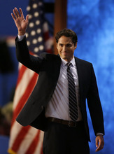 Republican presidential nominee Mitt Romney's son Craig Romney waves after speaking to delegates during the Republican National Convention in Tampa, Fla., on Thursday, Aug. 30, 2012. (AP Photo/Lynne Sladky)