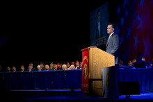 Republican presidential candidate, former Massachusetts Gov. Mitt Romney speaks to the American Legion National Convention on Wednesday, Aug. 29, 2012, in Indianapolis.  (AP Photo/Evan Vucci)