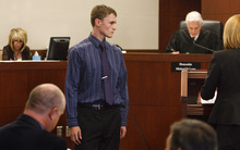 Leah Hogsten  |  The Salt Lake Tribune Dallin Todd Morgan, the 18-year-old Roy High School student accused of plotting to bomb the school in January pleaded no contest to reduced charge of second-degree felony criminal mischief on Thursday before Second District Judge Michael Lyon in Ogden. Morgan was originally charged with one count of first-degree felony possession of weapon of mass destruction, which is punishable by up to life. The criminal mischief count is punishable by up to 15 years in prison. Judge Michael Lyon, however, immediately sentenced Morgan to 18 months probation, 105 days in jail and a $500 fine. If Morgan successfully completes probation, the charge will be amended to class A misdemeanor.