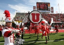Paul Fraughton | The Salt Lake Tribune Jordan Winn and the University of Utah Utes take the field for their first game of the season, against Northern Colorado at Rice Eccles Stadium in Salt Lake City on Thursday, Aug. 30, 2012.