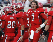 Scott Sommerdorf  |  The Salt Lake Tribune              Backup QB Travis Wilson congratulates QB Jordan Wynn on his TD pass to give Utah an early 7-0 lead. Utah held a 7-0 lead over Northern Colorado early in the second quarter on Jordan Wynn's 10 yard TD pass to Jake Murphy, Thursday, August 30, 2012.