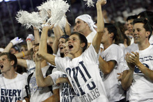 Chris Detrick  |  The Salt Lake Tribune BYU fans cheer during the season opener against Washington State at LaVell Edwards Stadium in Provo on Thursday, Aug. 30, 2012.