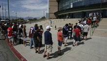 Francisco Kjolseth  |  The Salt Lake Tribune Thousands of fans lined up at the Maverik Center in West Valley City on Thursday, August 30, 2012, for a chance to pose for a picture with Trevor Lewis and the Stanley Cup. Lewis, who played hockey for Brighton High School, brought the home for a day as a member of the NHL champion Los Angeles Kings.