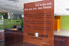 Chris Detrick  |  The Salt Lake Tribune A sign posted on the doors of the Skool Lunch on South Temple Friday announced the location was closed and thanked customers.