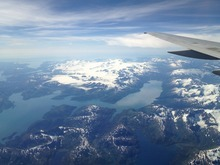 A view from the plane while flying into Anchorage.