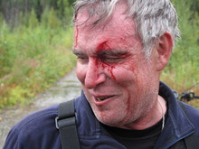 Chris Batin in the culvert after the incident, Thursday Aug. 30, 2012.