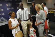 Francisco Kjolseth  |  The Salt Lake Tribune Utah Jazz coach Tyrone Corbin and his wife Dante, left, welcome Rebecca Lindsey with her daugher Jessica, 6, to Utah following the announcement that Rebecca's husband Dennis Lindsey was the new general manager of the Jazz on Tuesday, August 7, 2012.
