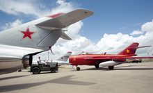 In this June 19, 2012, photo, Air Show pilot Glenn Smith, 58, of Frisco, moves his MiG-17 out of storage at the Historic Aviation Memorial Museum hangar in Tyler, Texas. Smith died, Sunday, Sept. 2, 2012, when his plane crashed during an air show in eastern Iowa. (AP Photo/The Tyler Morning Telegraph, Sarah A. Miller)