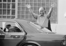 FILE - In this July 4, 1985 file photo, Rev. Sun Myung Moon smiles and waves as he leaves the Federal Correctional Institution in Danbury, Conn. Moon, who heads the Unification Church, was jailed last July on tax evasion charges. He left Danbury to serve the remainder of his sentence at a halfway house in Brooklyn, N.Y. Rev. Moon, self-proclaimed messiah who founded the Unification Church, has died at age 92 church officials said Monday, Sept. 3, 2012. (AP Photo/Bob Child)
