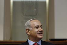 Israel's Prime Minister Benjamin Netanyahu, attends the weekly cabinet meeting in Jerusalem Sunday, Sept 2, 2012. Netanyahu is urging the international community to get tougher against Iran, saying that without a