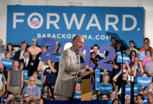 Vice President Joe Biden speaks during a campaign event at West York Area High School, Sunday, Sept. 2, 2012, in York, Pa. (AP Photo/Carolyn Kaster)