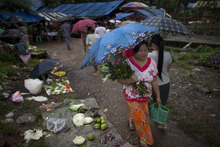 A woman holds flowers and vegetables after morning shopping at a local market in Yangon, Myanmar, Monday, Sept. 3, 2012. (AP Photo/Alexander F. Yuan)