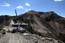 Rick Egan  | The Salt Lake Tribune  The new Little Cloud high-speed quad at the top of Hidden Peak at Snowbird is under construction, Wednesday, Aug. 29, 2012. Snowbird is transforming the Little Cloud lift into a high-speed quad for the winter ski season.