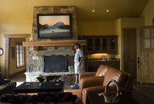 Kim Raff |  The Salt Lake Tribune Bob Hindy walks through the den of the 4,500-square-foot home on Dakota Trail in the Promontory in Park City Utah during the Park City Showcase of Homes on September 2, 2012.