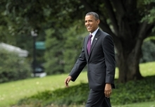 President Barack Obama walks to Marine One on the South Lawn of the White House in Washington, Tuesday, Sept. 4, 2012. Obama is heading to Norfolk, Va., for a campaign event. (AP Photo/Susan Walsh)
