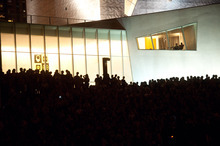 An estimated crowd of 6000 gathers outside the Walker Art Center for the first