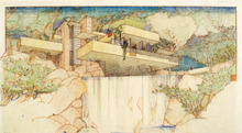 This undated rendering, provided by the Milwaukee Art Museum, shows a Frank Lloyd Wright drawing of a house called Fallingwater in Mill Run, Penn. A Frank Lloyd Wright archive of more than 23,000 architectural drawings and other material is being moved permanently to the Museum of Modern Art and Columbia University's Avery Architectural & Fine Arts Library in New York, it was announced, Tuesday, Sept. 4, 2012 by Sean Malone, president of the Frank Lloyd Wright Foundation. (AP Photo/Milwaukee Art Museum)
