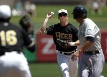 Kim Raff | The Salt Lake Tribune Salt Lake Bees player Ed Lucas looks to throw to first basemen Efren Navarro while chasing down Tacoma Rainers player Vinnie Catricala during a game at Spring Mobile Ballpark in Salt Lake City on July 8, 2012.