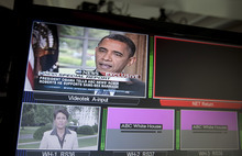 President Barack Obama is seen on television monitors in the White House briefing room in Washington, Wednesday, May 9, 2012. President Barack Obama told an ABC interviewer that he supports gay marriage.   (AP Photo/Carolyn Kaster)
