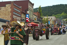 Chris Detrick  |  The Salt Lake Tribune Representatives of the Park City Museum participate during the 115th annual Miner's Day Parade & Labor Day Celebration in Park City Monday September 3, 2012.