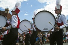 Chris Detrick  |  The Salt Lake Tribune Members of the Park City High School Marching Band perform during the 115th annual Miner's Day Parade & Labor Day Celebration in Park City Monday September 3, 2012.