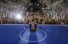 First Lady Michelle Obama speaks to delegates at the Democratic National Convention in Charlotte, N.C., on Tuesday, Sept. 4, 2012. (AP Photo/Charlie Neibergall)
