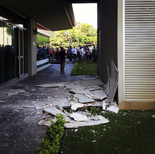 This photo posted to an Instagram account belonging to a person identified as Jose Pablo Pineda, an eyewitness at the scene, shows damage at an office building in San Jose, Costa Rica after an earthquake struck Wednesday, Sept. 5, 2012.  A powerful, magnitude-7.6 earthquake shook Costa Rica and a wide swath of Central America on Wednesday.  (AP Photo/Jose Pablo Pineda via Instagram)