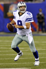 Dallas Cowboys quarterback Tony Romo looks to pass against the New York Giants during the second half of an NFL football game Wednesday, Sept. 5, 2012, in East Rutherford, N.J. (AP Photo/Bill Kostroun)