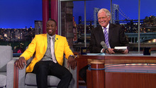 This image provided by CBS shows Dwyane Wade, All-Star for the 2012 NBA Champions the Miami Heat, talking about his new book on parenthood, A Father First:  How My Life Became Bigger Than Basketball, when he visits the LATE SHOW with DAVID LETTERMAN, Tuesday, Sept. 4, 2012.  Wade's book hit bookstores Tuesday, the same day as his LATE SHOW appearance. (AP Photo/CBS Entertainment)  ©2012 Worldwide Pants Inc. All Rights Reserved