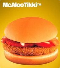 This undated image provided by McDonald's Corp. shows an item available in it's soon to open vegetarian-only restaurants in India. The company already offers menu items that cater to local tastes, such as the Maharaja Mac, which is a Big Mac except with chicken patties instead of beef. (AP Photo/McDonald's Corp.)