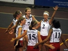 Kiz 3: Kizzy Willey, No. 2, embraces her teammates following a point at the 2012 NORCECA Women's Junior Continental Championship in Nicaragua. Willey, a senior outside hitter at Lone Peak High School, played on the U.S. team that won a bronze medal on Aug. 26. Courtesy Cindy Willey