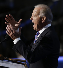 Vice President Joe Biden speaks to delegates at the Democratic National Convention in Charlotte, N.C., on Thursday, Sept. 6, 2012. (AP Photo/Lynne Sladky)