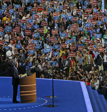 the Democratic National Convention in Charlotte, N.C., on Thursday, Sept. 6, 2012. (AP Photo/Carolyn Kaster)