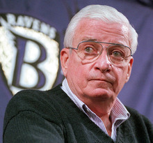 FILE - This Dec. 28, 1998 file photo shows Baltimore Ravens owner Art Modell listening to a reporters question during a news conference at the Ravens training facility in Owings Mills, Md. Former Ravens owner Modell has died. He was 87. The team said Modell died of natural causes early Thursday, Sept. 6, 2012, at Johns Hopkins Hospital, where he had been admitted Wednesday. (AP Photo/John Gillis, File)