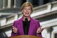 Candidate for US Senate Tammy Baldwin of Wisconsin addresses the Democratic National Convention in Charlotte, N.C., on Thursday, Sept. 6, 2012. (AP Photo/J. Scott Applewhite)