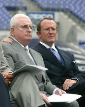FILE - This May 6, 2003 file photo shows Baltimore Ravens owner Art Modell, left, and team President David Modell,  sitting together at a news conference at the newly named M&T Bank Stadium in Baltimore, Md. One of the most influential owners in the history of the NFL, Art Modell helped mold the foundation of the league.  The innovative Modell, whose reputation was forever tainted when he moved his franchise from Cleveland to Baltimore, died early Thursday, Sept. 6, 2012. He was 87. David Modell said he and his brother, John, were at their father's side when he