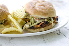 This Thai Peanut Barbecue Turkey Cutlet Burger is made with a sauce that has complex barbecue flavors, but comes from an easy recipe. (AP Photo/Matthew Mead