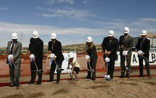 Rick Egan  |  The Salt Lake Tribune  Officials take the first scoop of dirt as Primary Children's Medical Center holds a groundbreaking ceremony for the new George S. and Dolores Doré Eccles Outpatient Services Building on Thursday.