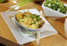 In this Friday, Aug. 24, 2012 photo, Campbell's new Green Thai Curry Skillet sauce sits on display, mixed with browned fresh produce and tofu over rice at the Campbell Soup Company headquarters in Camden, N.J. (AP Photo/Mel Evans)