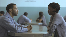 Ruby (Emayatzy Corinealdi, right) visits her husband Derek (Omari Hardwick) in prison in the drama
