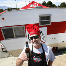 Scott Sommerdorf  |  The Salt Lake Tribune              Picturing Utes: Mike Morrison, of Salt Lake City, attends the tailgating party before the Northern Colorado game on Aug. 30, 2012.