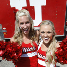 Scott Sommerdorf  |  The Salt Lake Tribune              Picturing Utes: University of Utah cheerleaders Jordan Hash, left, and Emily Harrington stopped by the tailgating party prior to the Northern Colorado game on Aug. 30, 2012.
