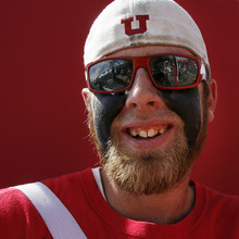 Scott Sommerdorf  |  The Salt Lake Tribune              Picturing Utes: Kris Burden, of Salt Lake City, attends the tailgating party before the Northern Colorado game on Aug. 30, 2012.